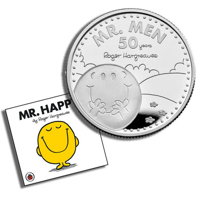 2021 UK £1 Mr Men - Mr Happy 1/2oz Silver Proof w/FREE Book