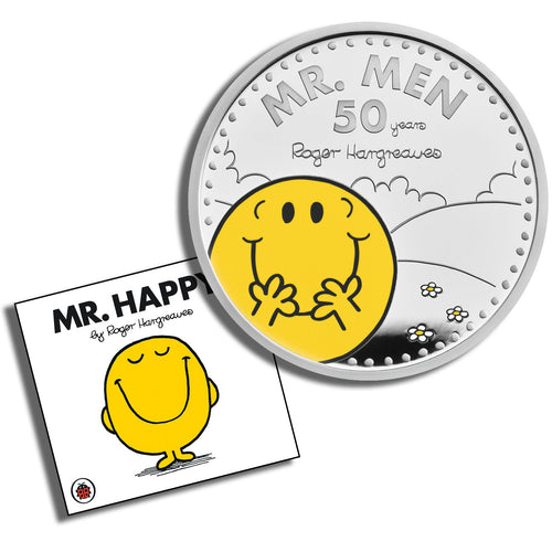 2021 UK £2 Mr Men - Mr Happy 1oz Silver Proof w/FREE Book