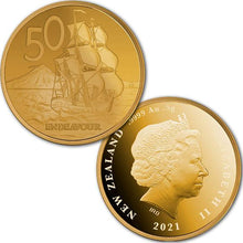 2021 NZ 50c Tall Ships 0.5g Gold Proof Coin