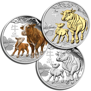 2021 $1 Year of the Ox 1oz Silver Trio
