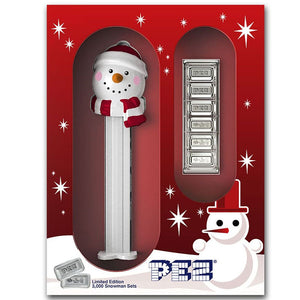 2019 Pez 5g Silver Set of 6 w/Snowman Dispenser