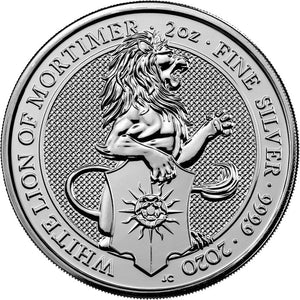 2020 UK £5 Queens Beasts White Lion of Mortimer 2oz Silver BU