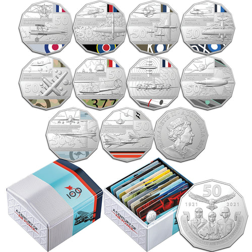 2021 50c RAAF Centenary 11-coin Unc Collection