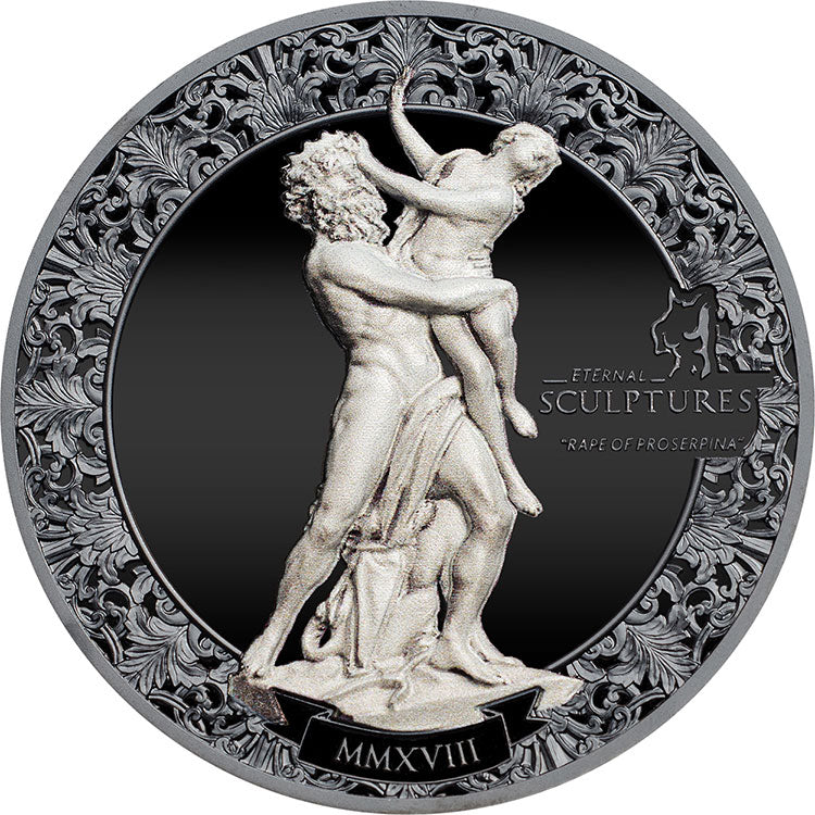 2018 Palau $10 Rape Of Proserpina Eternal Sculptures 2oz Silver Coin
