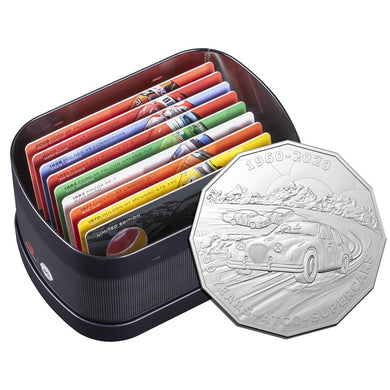 2020 50c 60 Years of Supercars 9-coin Set in Tin