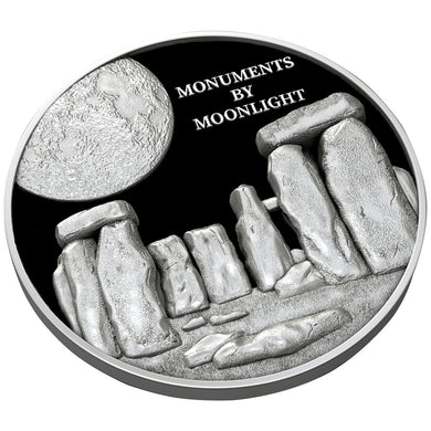 2019 Fiji $1 Monuments by Moonlight - Stonehenge High Relief 1oz Silver Coin