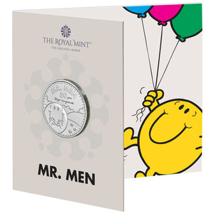 2021 UK £5 Mr Men - Mr Happy BU w/FREE Book
