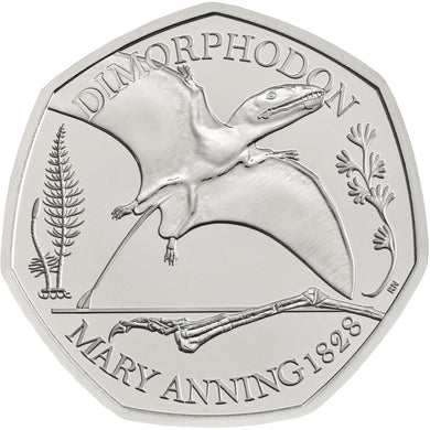 2021 UK 50p Mary Anning - Dimorphodon BU
