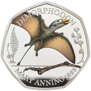 2021 UK 50p Mary Anning - Dimorphodon Silver Proof