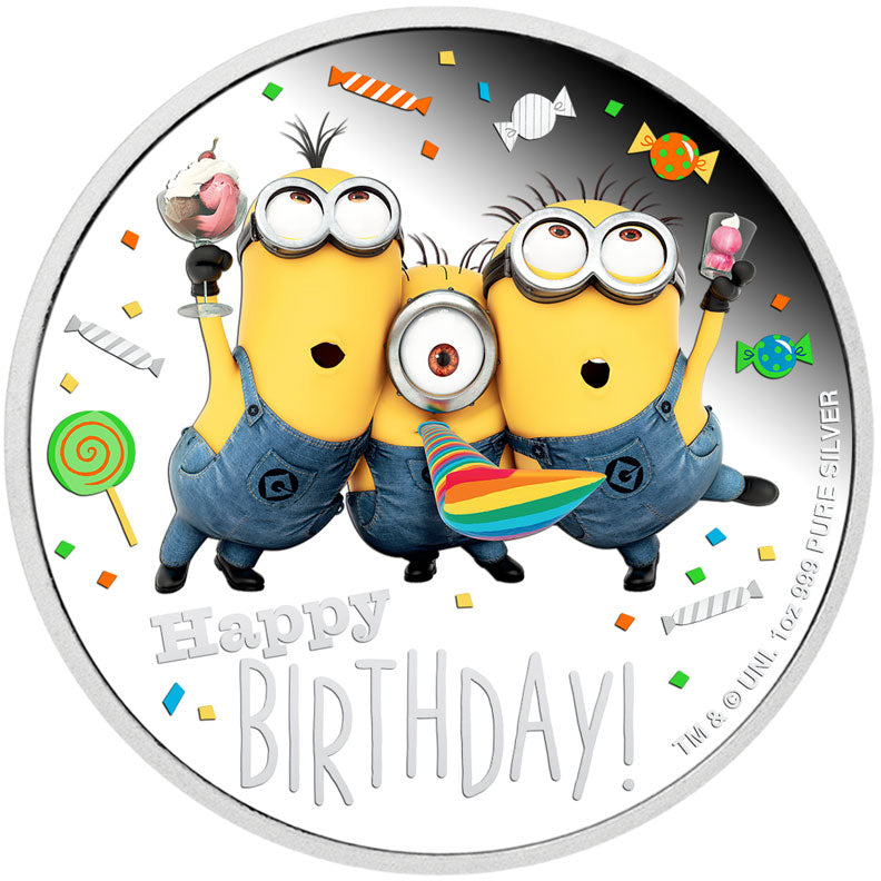 2019 Niue $2 Minions Happy Birthday 1oz Silver Proof Coin