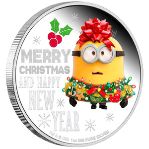 2019 Niue $2 Minions Christmas 1oz Silver Proof Coin