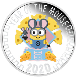 2020 Niue $2 Minions Lunar Mouse 1oz Silver Proof Coin