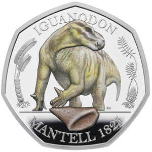2020 UK 50p Dinosaurs - Iguanodon Colour Silver Proof