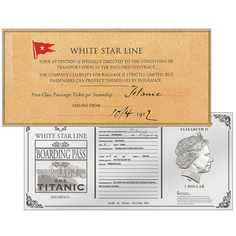 2019 Cook Isl. $1 Titanic Rose's Ticket Foil Silver Note