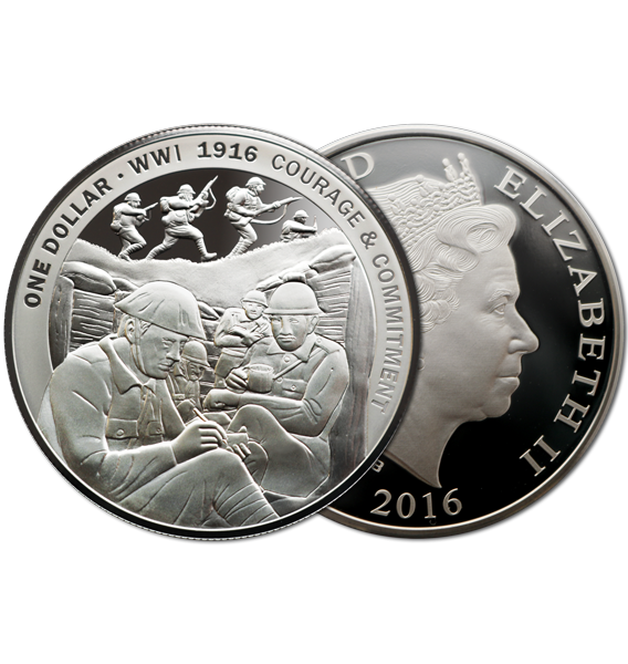 2016 NZ $1 1916 Courage & Commitment 1oz Silver Proof Coin