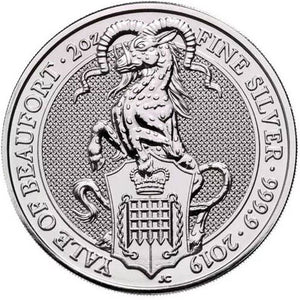2019 UK £5 Queens Beasts Yale of Beaufort 2oz Silver BU