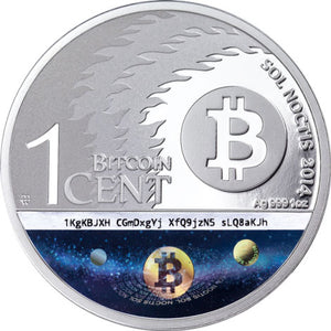 2014 0.01BTC Sol Noctis Binary Eagle 1oz Silver Coin