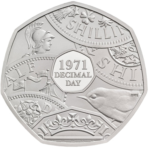 2021 UK 50p Decimal Day Piedfort Silver Proof