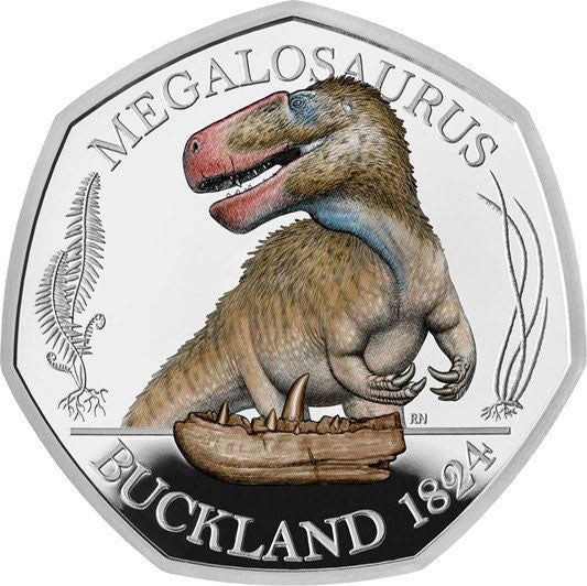 2020 UK 50p Dinosaurs - Megalosaurus Colour Silver Proof