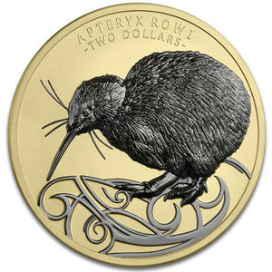 2020 NZ $2 Kiwi Gold & Ruthenium Plated 2oz Silver Coin