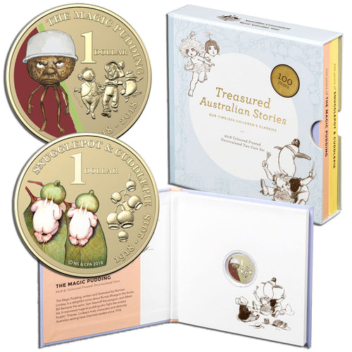 2018 $1 Snugglepot & Cuddle Pie, The Magic Pudding 2-coin Al-Br Unc Set