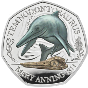 2021 UK 50p Mary Anning - Temnodontosaurus Silver Proof