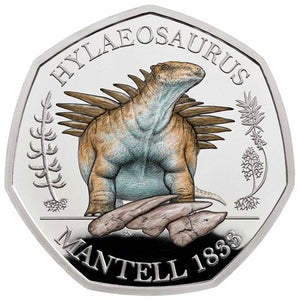 2020 UK 50p Dinosaurs - Hylaeosaurus Colour Silver Proof