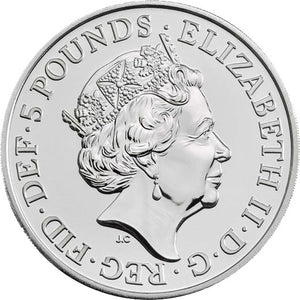 2020 UK £5 Queen's Beasts - White Lion of Mortimer CuNi BU