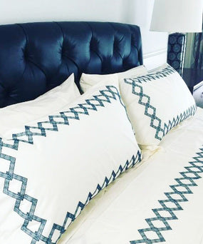 Diamante Dark Blue Pillow Case