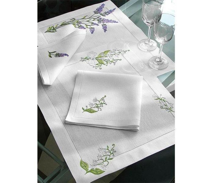 Lavender and Lilly of the valley white hemstitched linens