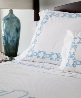 Square Key Blue Pillow Case
