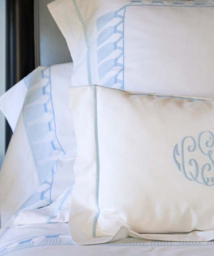 Tassels Light Blue Pillow Case