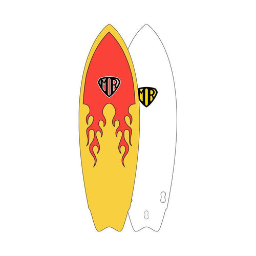 O&E MR EPOXY SOFT TOP TWIN FIN - FLAME