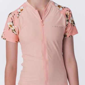 RIP CURL YOUTH ISLAND TIME ZIP S/S RASH TOP