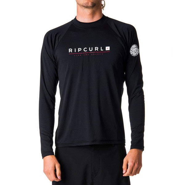 RIP CURL MENS SHOCKWAVE RELAXED L/S UVT Black UV50+