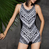 Black & White One Piece Swimsuit  |  TRU180 Fitness