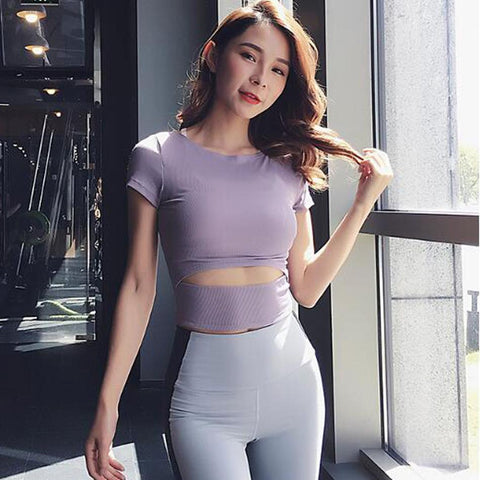 Women Gym White Crossfit Crop Tops