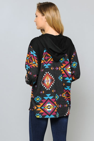 Women's Aztec Hooded Top
