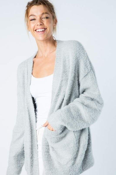 Super Soft Grey Knit Open Front Sweater