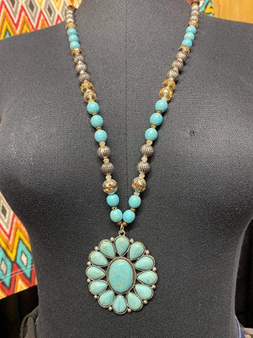 Turquoise Beaded Medallion Necklace
