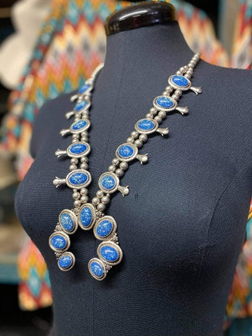 Silver with Blue & Sparkle Accent Necklace