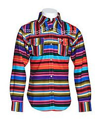 Cowgirl Hardware Girls' Serape Print with Sequins Long Sleeve Western Shirt