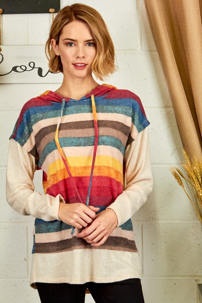 Brushed Multicolor Stripe Hooded Top
