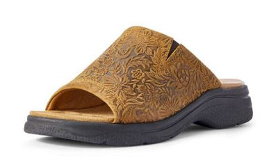 Ariat Women's Bridgeport Wheat Floral Embossed Slide On Sandal Shoe - RM Tack & Apparel