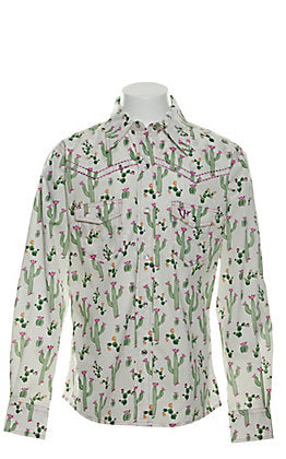 Cowgirl Hardware Toddler White with Floral Cactus Print Long Sleeve Western Shirt