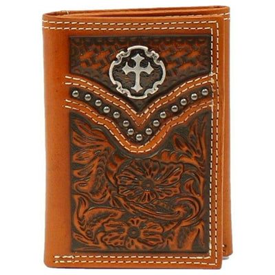Ariat Tri-Fold Floral Embossed with Cross Concho Wallet