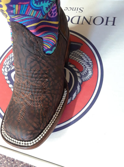Kid's Hondo Chocolate Blue Paisley Boots - RM Tack & Apparel