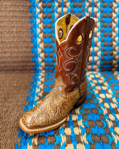 Quality Leather Western Tooled Tan & Brown Boots - RM Tack & Apparel