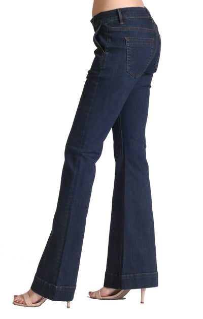 "Grace in LA Women's Mid-rise Dark Wash Flare Jean - 32"" Inseam - RM Tack & Apparel"