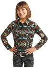Rock and Roll Cowgirl Girls Colorful Aztec Shirt - RM Tack & Apparel